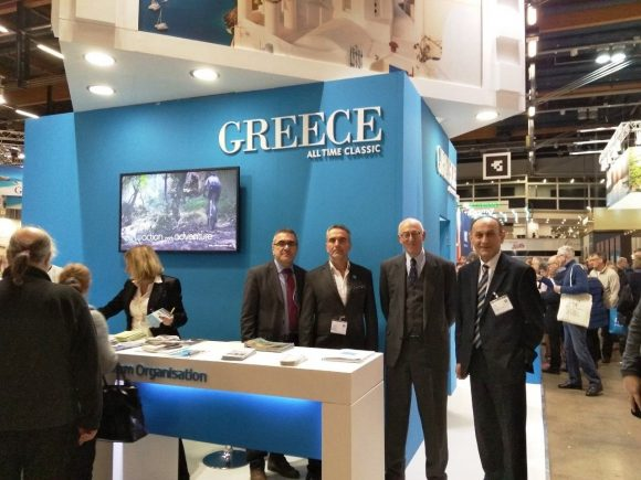 GNTO Secretary General Konstantinos Tsegas, GNTO President Charalampos Karimalis, Ambassador of Greece to Finland Georgios Aifantis and GNTO Chief Executive for Scandinavia Pavlos Mourmas at the Greek stand during the MATKA 2019 exhibition.