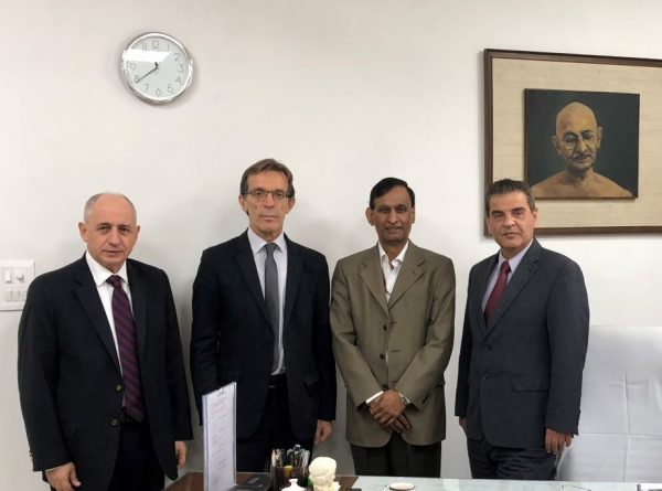 TIF Helexpo President Tasos Tzikas with CEO Kyriakos Pozrikidis, the Head of the India Trade Promotion Organization, LC Goyal, and the Commercial Attaché of the Greek Embassy in India, Vasilis Skronias.