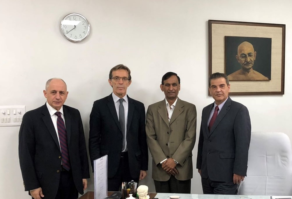 The Commercial Attaché of the Greek Embassy in India, Vasilis Skronias; TIF-Helexpo President Tasos Tzikas; the Head of the India Trade Promotion Organization, LC Goyal, and TIF-Helexpo CEO Kyriakos Pozrikidis.