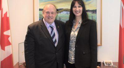 Greek Tourism Minister Elena Kountoura and her Ontario counterpart Michael Tibollo