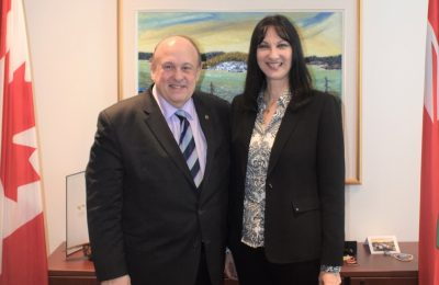 Greek Tourism Minister Elena Kountoura and her Ontario counterpart Michael Tibollo