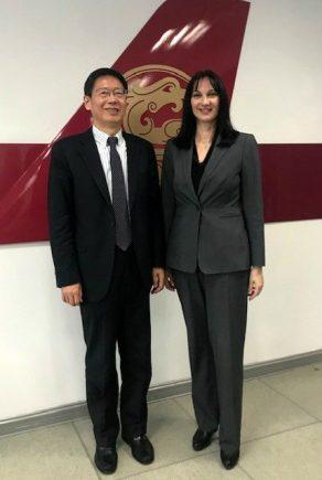 Greek Tourism Minister Elena Kountoura and Juneyao Air Chairman Hong Liang Zhao.