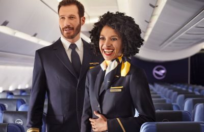 Lufthansa flight attendants.