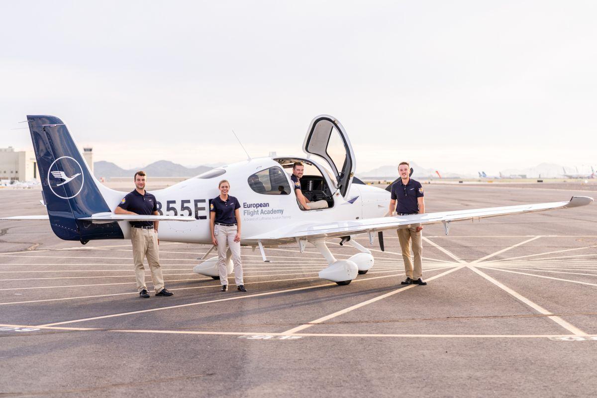 Trainee pilots at Lufthansa.