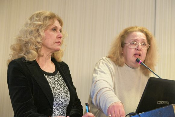 The forum's organizers Chryssa Krassa and Maria Athanasopoulou.