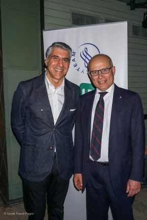 Alitalia Country Manager for Greece, Cyprus and Malta, George Athanassiou with Italy's Ambassador to Greece Luigi Marras.