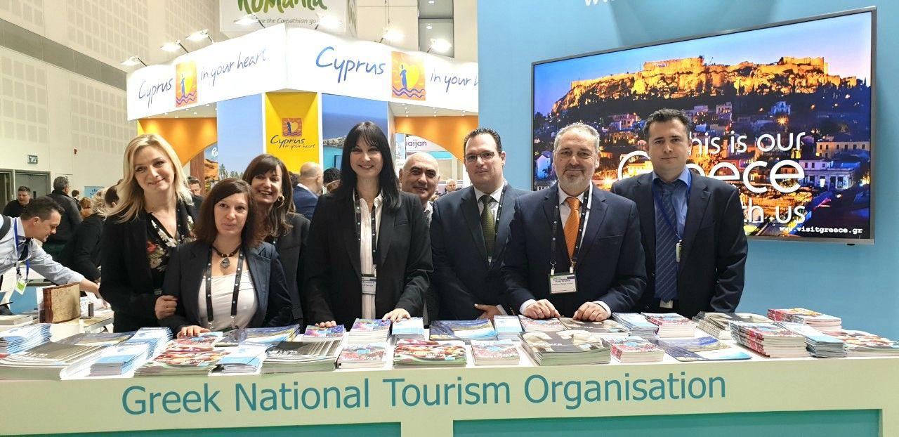 Greek Tourism Minister Elena Kountoura with the GNTO team at the IMTM 2019 exhibition.