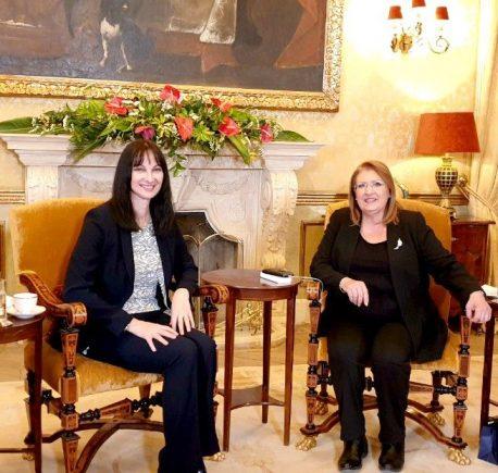 Greek Tourism Minister Elena Kountoura and Malta President Marie-Louise Coleiro Preca, Patron of the Mediterranean Tourism Foundation.