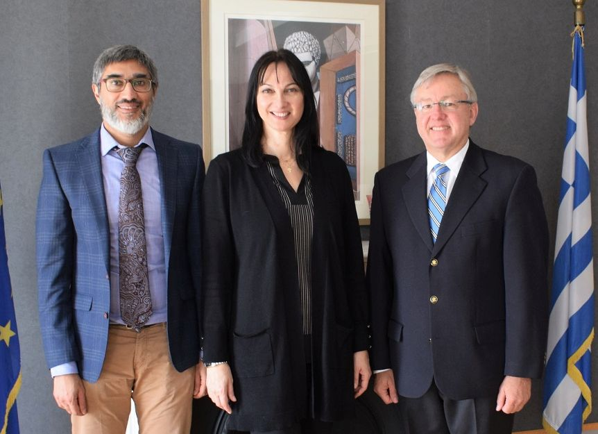 Greek Tourism Minister Elena Kountoura with the deputy head of the South African Embassy in Athens, Ahmed Seedat (L) and the South African ambassador to Athens, Marthinus van Schalkwyk.