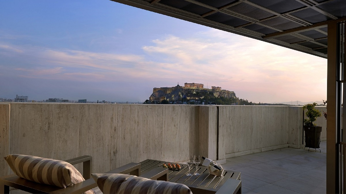 View from the NJV Athens Plaza Presidential Suite on the 7th floor.