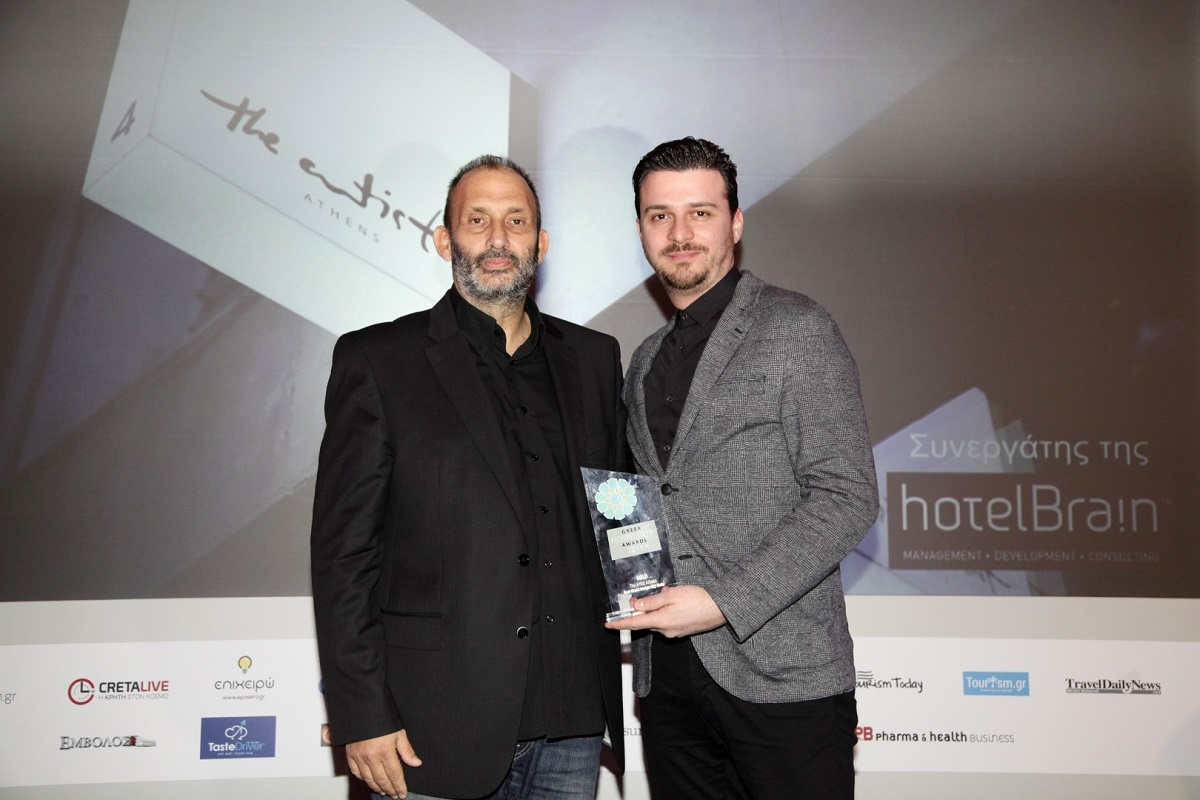 Panos Peleologos, founder and chairman of HotelBrain and Panagiotis Soulis, owner of The Artist Hotel.