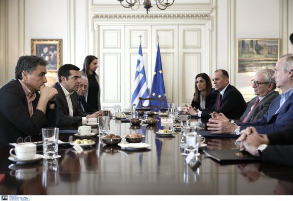 Greek Prime Minister Alexis Tsipras and Union of Greek Shipowners (UGS) President Theodoros Veniamis.