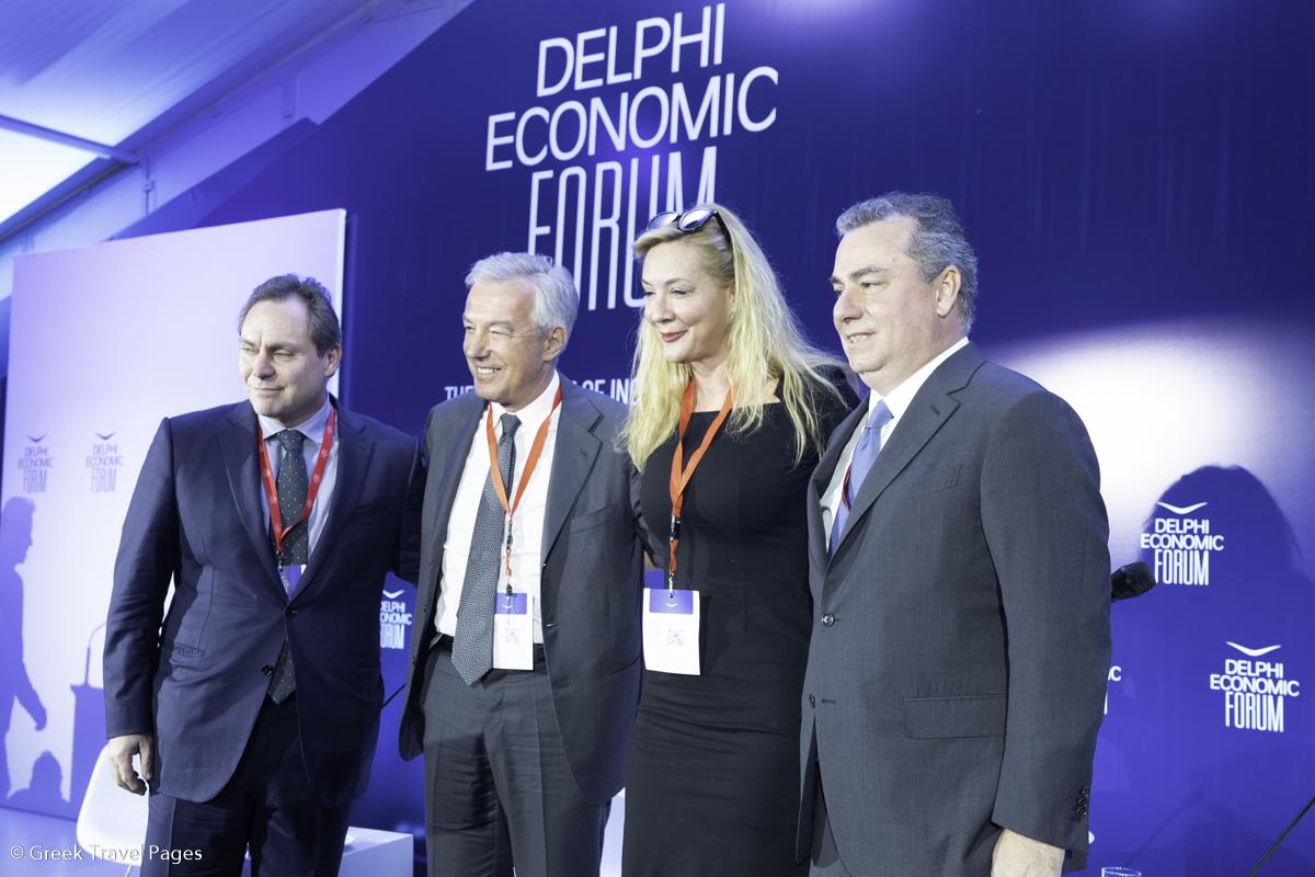 Aegean Airlines Chairman Eftichios Vassilakis; Sani/Ikos Group CEO Andreas Andreadis, Alpha TV Anchorwoman Maria Nikoltsiou; TEMES SA Chairman Achilles Consantakopoulos.