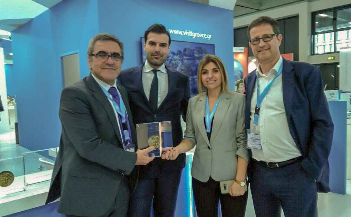 Greek National Tourism Organization Secretary General Konstantinos Tsegas (L) and Greek General Secretary for Tourism Policy and Development George Tziallas (R) at the Afitis Boutique Hotel stand at ITB Berlin 2019.