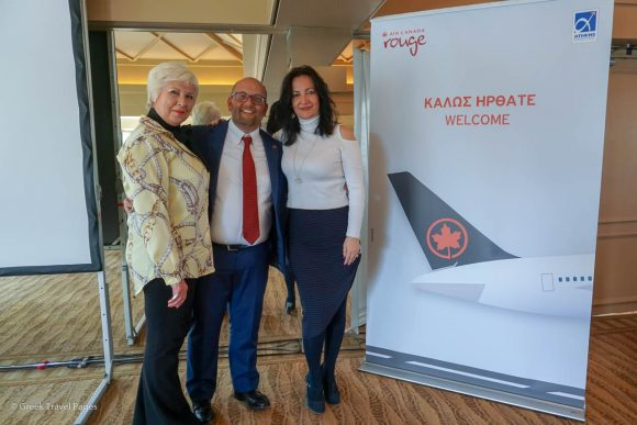 Air Canada's Sapfo Triantari, sales & marketing manager Greece-Cyprus and Stefano Casaregola, regional manager sales, Portugal, Spain, Italy, Greece & turkey with Athens International Airport's Ioanna Papadopoulou, director of communications and marketing.