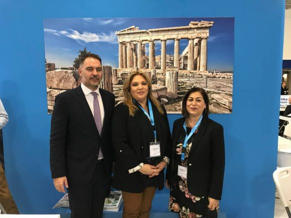 Hellenic Chamber of Hotels President Alexandros Vassilikos with the Region of Attica's Head of Directorate of Tourism, Athina Kolyva and Executive Regional Councilor for Tourism Promotion, Eleni Dimopoulou, at the ITB Berlin 2019 trade show.