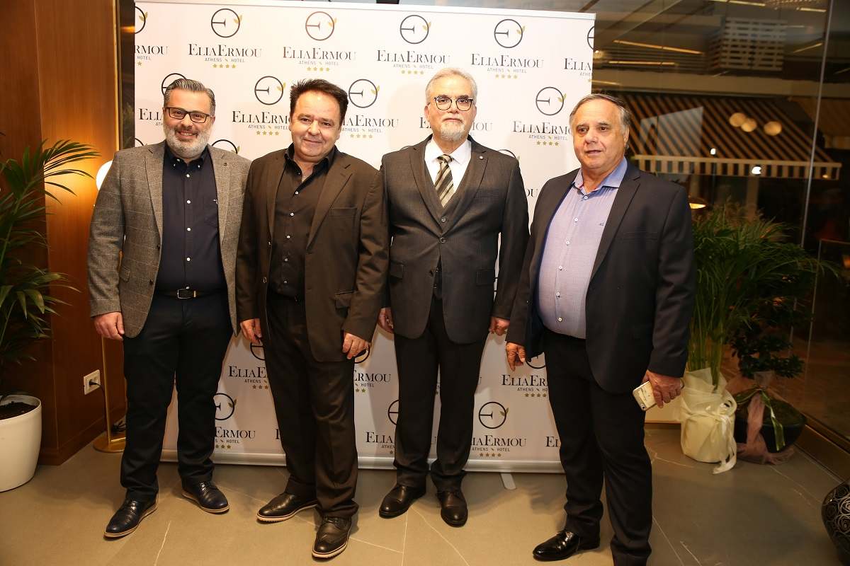 The hotel's owners Anastasios Eleftheriadis, Nikolaos Kalamaras and Georgios Kantilierakis with the general manager Giorgos Louis.