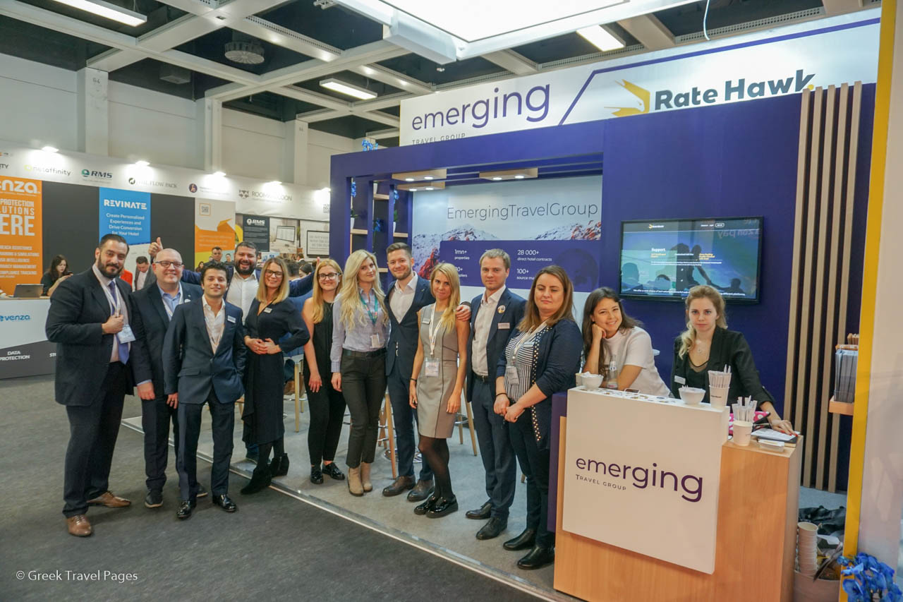 The team of Emerging Travel Group (RateHawk, Ostrovok, B2B.Ostrovok and Zenhotels) at the ITB Berlin 2019 tourism trade show.