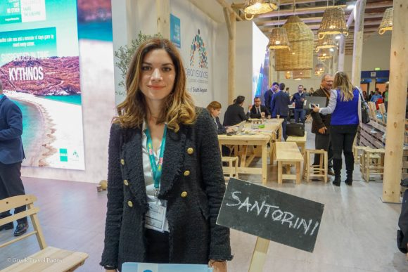 Travelotopos General Manager Maria Aivalioti at the ITB Berlin 2019 tourism expo in Germany.