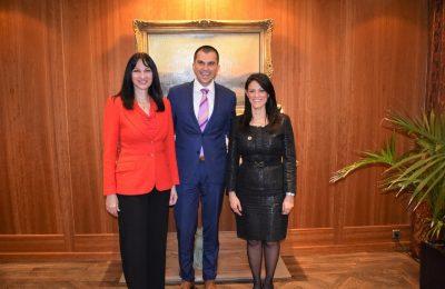 Tourism Minister Elena Kountoura with Cyprus Deputy Tourism Minsiter Savvas Perdios and her Egyptian counterpart, Rania Al-Mashat.