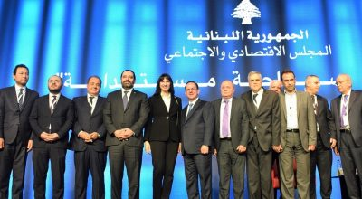 Greek Tourism Minister Elena Kountoura (center) with the Prime Minister of Lebanon Saad Hariri and her Lebanese counterpart Avedis Guidanian.