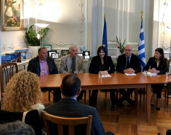 Greek Tourism Minister Elena Kountoura at the local office of the Region of the South Aegean on Syros.