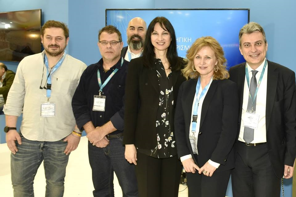 Greek Tourism Minister Elena Kountoura in the Greek stand at ITB Berlin with representatives of tourism startups.