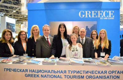 Greek Tourism Minister Elena Kountoura at the Greek stand with Greek Ambassador to Russia Andreas Fryganas, GNTO VP Aggeliki Chondromatidou, GNTO Russia & CIS Head Polykarpos Efstathiou and GNTO executives.