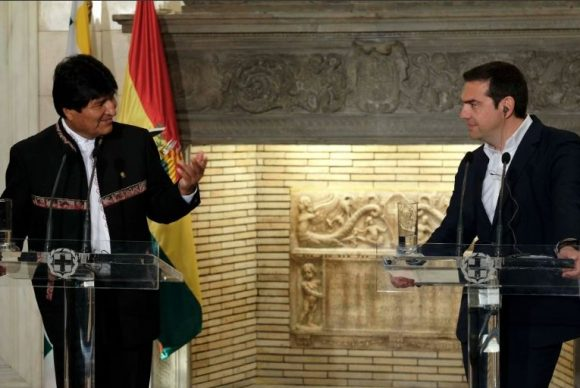 Bolivian President Evo Morales and Greek Prime Minister Alexis Tsipras. Photo source: @PrimeministerGR (twitter)