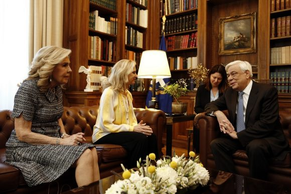 Marianna Vardinoyannis (right) with Kerry Kennedy and the President of the Hellenic Republic Prokopios Pavlopoulos. Photo Source: presidency.gr