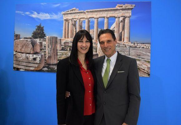 Greek Tourism Minister Elena Kountoura and Thomas Cook CEO Peter Fankhauser.