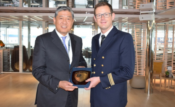 Deputy CEO of PPA, Capt. Weng Lin with Cpt. Remi Genevaz.