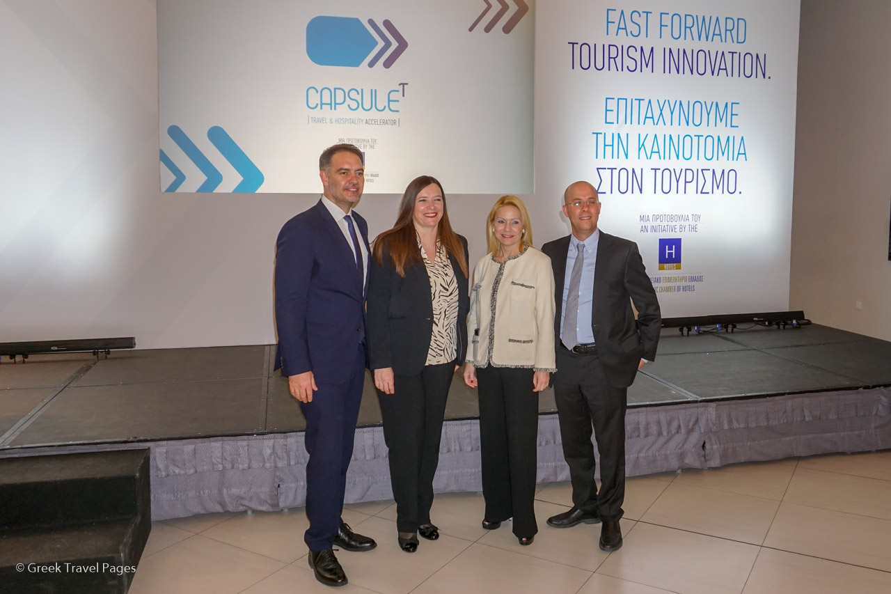 Hellenic Chamber of Hotels President Alexandros Vassilikos, CapsuleT Director Katerina Saridaki, Hellenic Chamber of Hotels VP Christina Tetradi and Israel Travel Tech Startups Community founder, Itai Green.