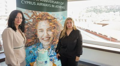 AIA Communications & Marketing Director Ioanna Papadopoulou and Cyprus Airways PR and Marketing Manager Kiki Haida.