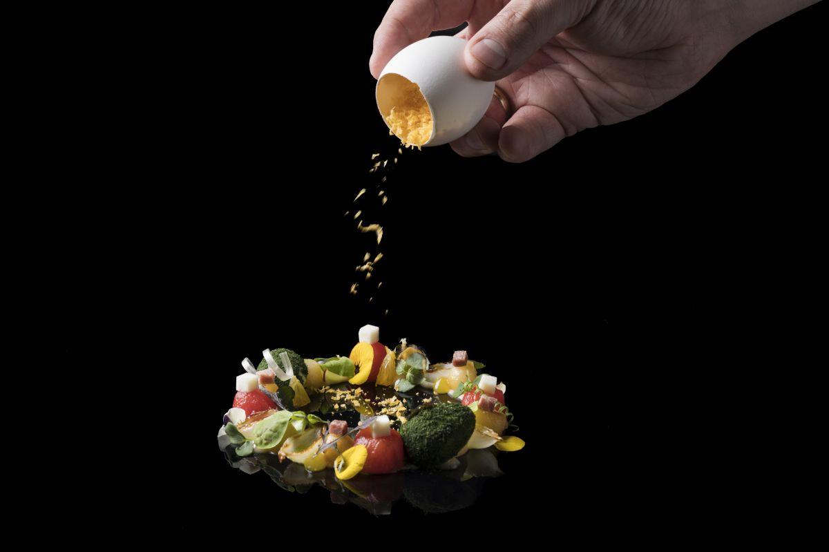 Messinian salad, free range cured egg yolk.