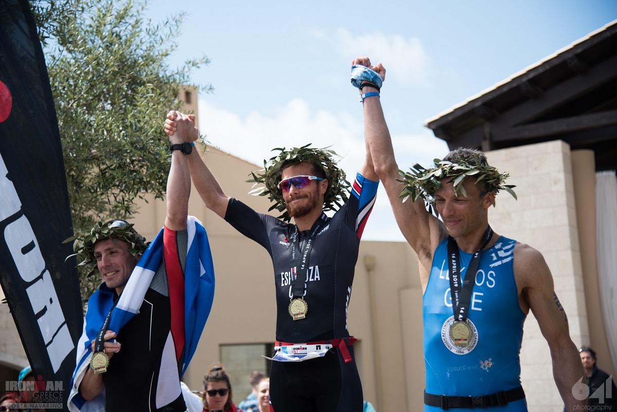 The winners in the men's category: Grigoris Souvatzoglou (left), Ernesto Espinoza (center), Dimitris Lekkos (right).