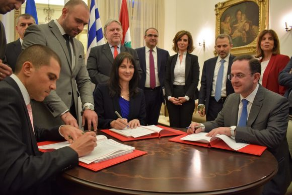 Greece's Tourism Minister Elena Kountoura, Cyprus' Deputy Minister for Tourism Savvas Perdios and Lebanon's Tourism Minister Avedis  Guidanian sign the foundational document for the establishment of ISTO for P&P.
