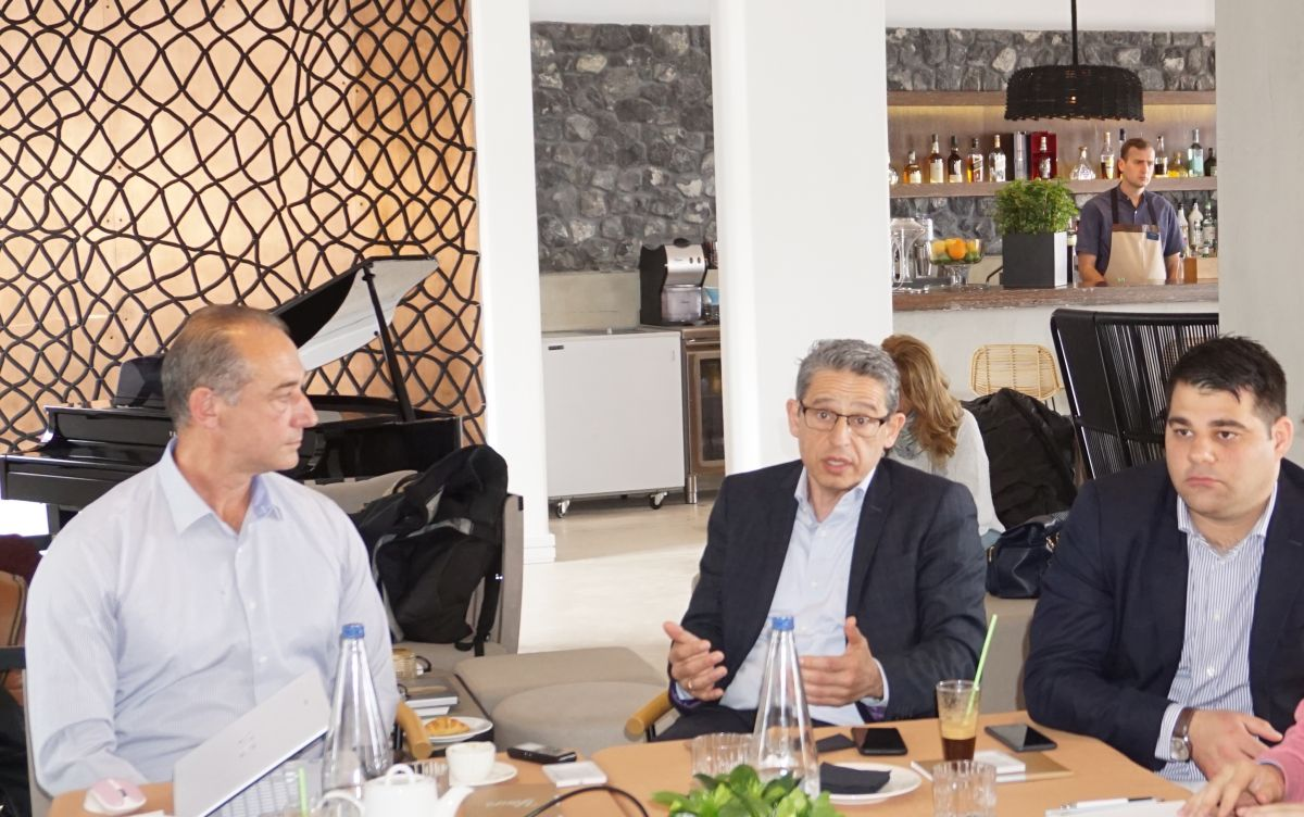 Kostas Bouyouris, Co-Founder & Chief Projects Officer of Local food Experts; Andreas Metaxas, President and CEO of the Metaxa Hospitality Group; and Manos Borboudakis, General Manager of the Santo Maris Luxury Suites & Spa on Santorini.