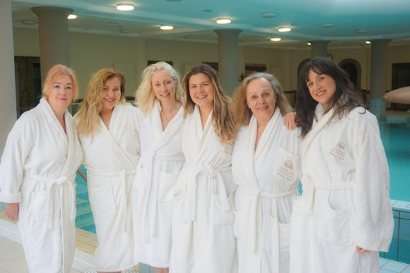 TBG's co-founder, Elena Sergeeva (center) and the network's members experiencing the Thermae Sylla's facilities.