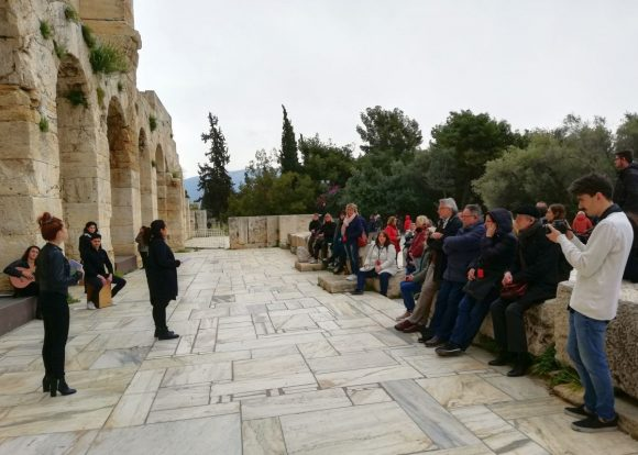 """German delegates of the """"FVW workshop Athens-Attica 2019"""" at the Odeon of Herodes Atticus in Athens."""