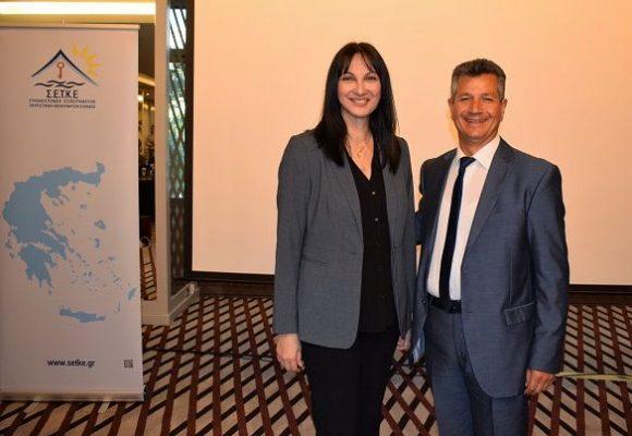 Greek Tourism Minister Elena Kountoura with SETKE President Panagiotis Tokouzis.