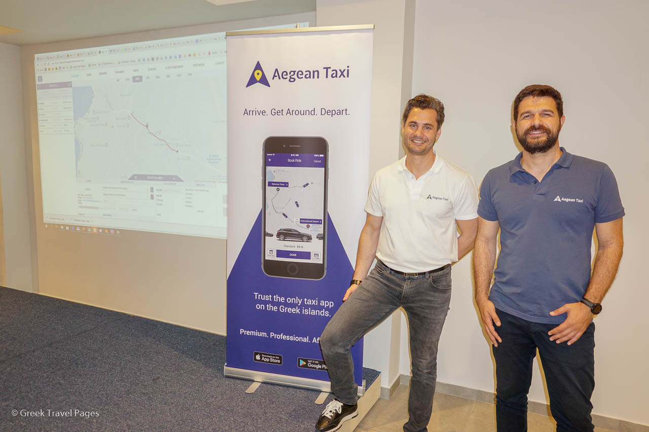 Aegean Taxi's CEO Akis Stark and Head of Business Development Nikolas Lardis.