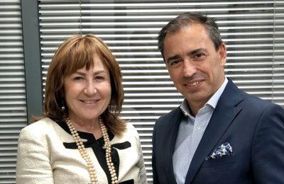 Athina Kapeni with Goldair Handling CEO Dimitris Papamichail.