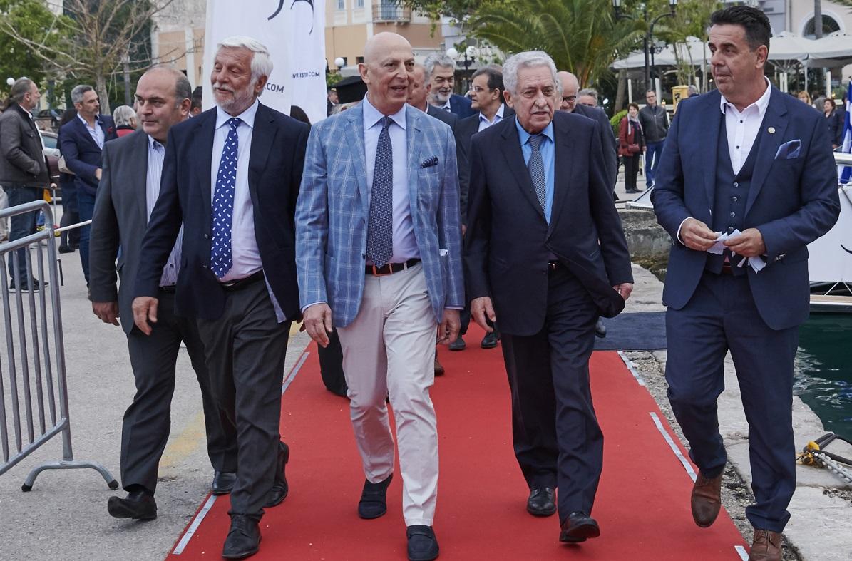 Peloponnese Governor Petros Tatoulis; GYA President Michalis Skoulikidis; Shipping Minister Fotis Kouvelis; Nafplion Mayor Dimitris Kostouros.