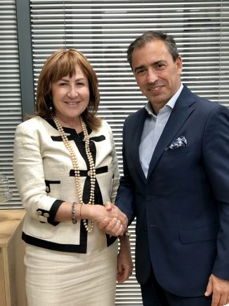 Athina Kapeni with Goldair Handling CEO Dimitris Papamichail.