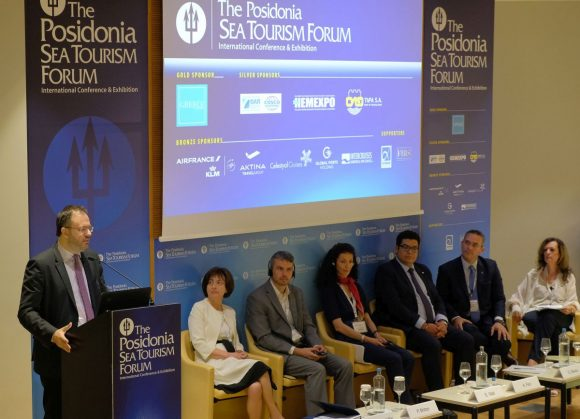 Greek Tourism Minister Thanasis Theocharopoulos speaking during the 5th Posidonia Sea Tourism Forum.