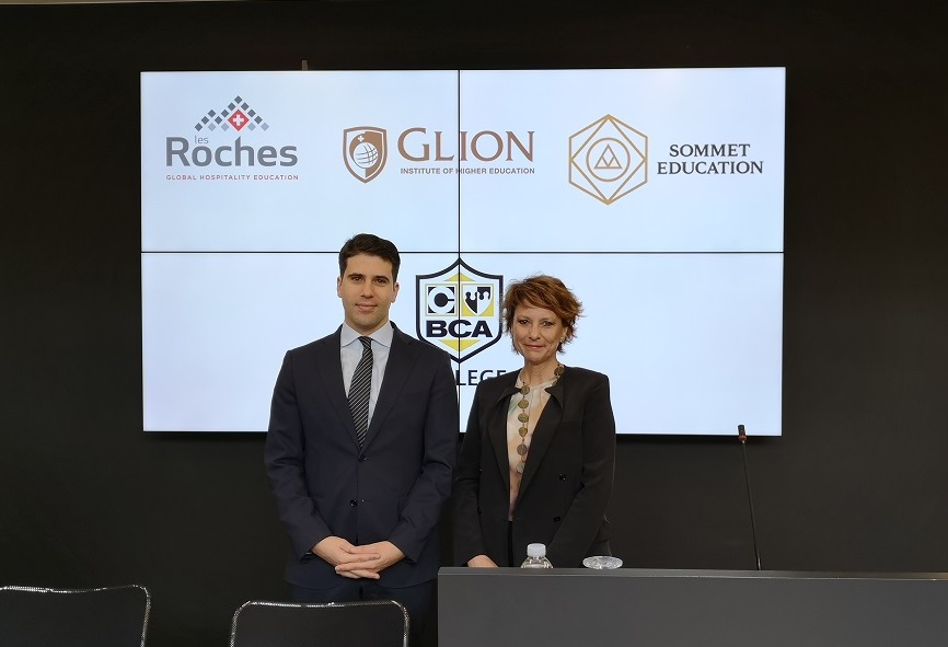 Harris Daskalakis, Executive Director of BCA Group and Vana Saade, Regional Admissions Director of Les Roches and Glion.