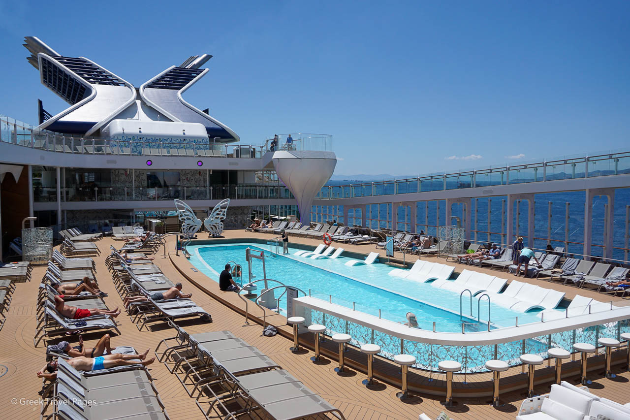 "Celebrity Cruises' main pool area with the company's iconic ""X"" seen above."