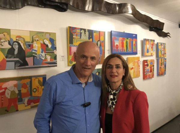 Artist Kostas Spyropoulos with the manager of Grecotel Pallas Athena Mary Karassouli.