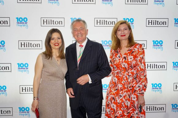 Bart van de Winkel, the Hilton's Area General Manager Greece & Cyprus with the Hilton Athens' Tina Toribaba (communications manager) and Eva Batzaki (director of sales).